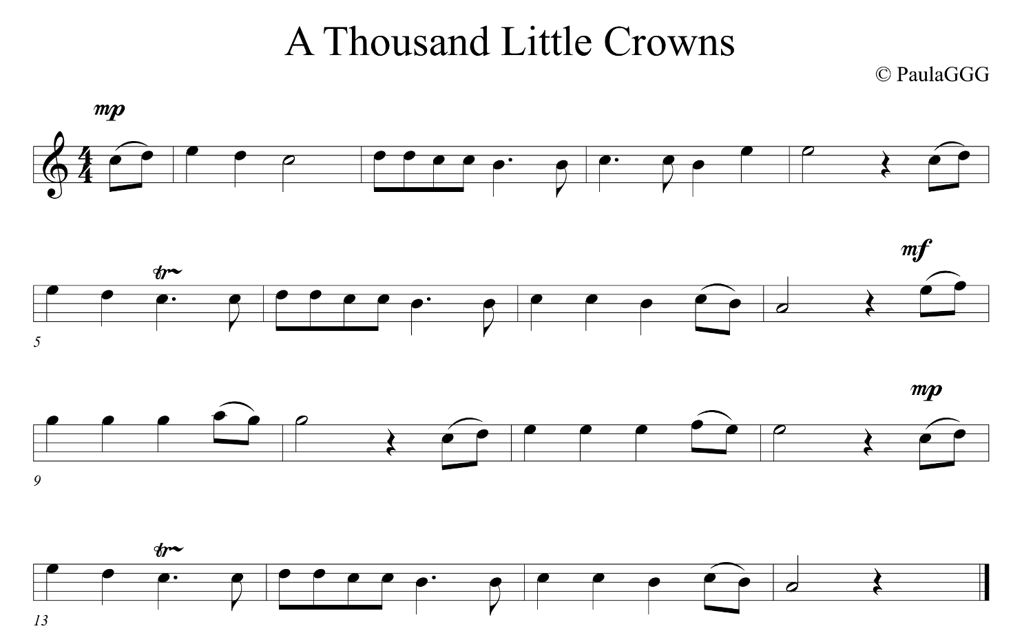 A Thousand Little Crowns - Sheet Music picture