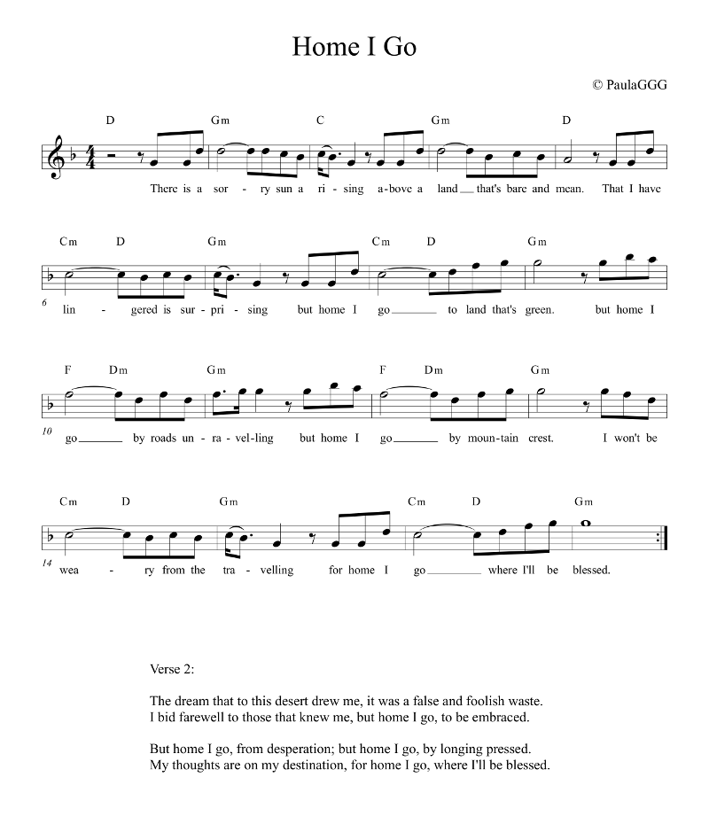 Home I Go - Sheet Music picture