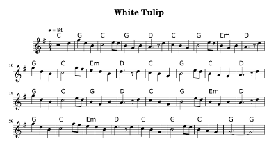 sheet music for white tulips